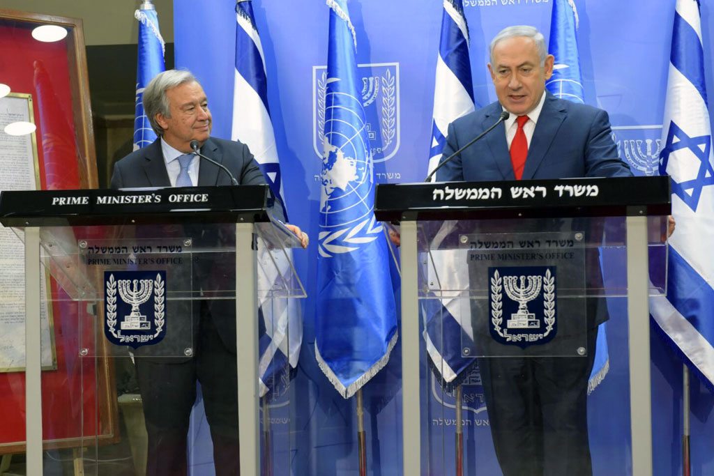 Secretary-General António Guterres (left) and Prime Minister Benjamin Netanyahu of Israel brief the press in Jerusalem. Photo: Shlomi Amsalem
