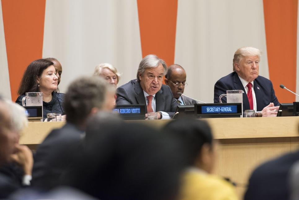 Secretary-General António Guterres and US President Donald Trump (right) during the high-level meeting on reform of the United Nations. UN Photo/Mark Garten