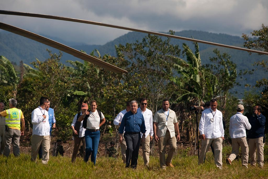 On the second day of a visit to Colombia, United Nations Secretary-General António Guterres travels to Mesetas, Meta. Photo/UN Verification Mission in Colombia