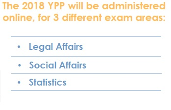 2018 YPP exam is offered in three areas Legal Affairs, Social Affairs and Statistics